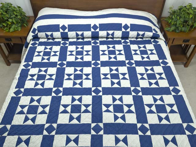 Blue and Cream Framed Ohio Star Quilting Bee Quilt Photo 1
