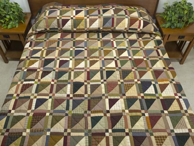 Plaid Earthtones Homespun Squares Quilt Photo 1