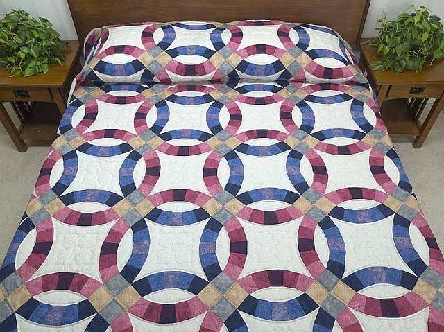 blue and rose double wedding ring quilt photo 1 - Double Wedding Ring Quilt Pattern