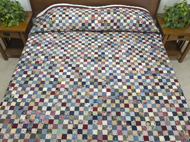 Navy Burgundy and Multicolor Hit or Miss Quilt Photo 1