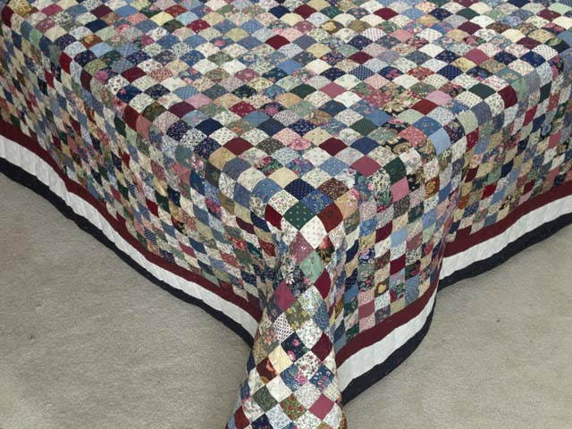 Navy Burgundy and Multicolor Hit or Miss Quilt Photo 7