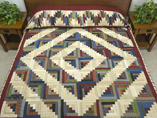 King Burgundy and Multicolor Bear Mountain Log Cabin Quilt Photo 1
