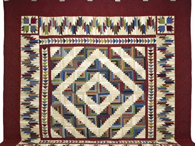 King Burgundy and Multicolor Bear Mountain Log Cabin Quilt Photo 2