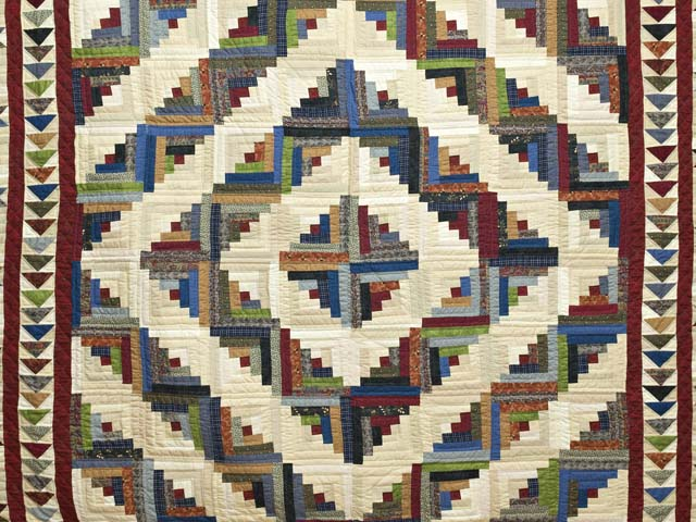King Burgundy and Multicolor Bear Mountain Log Cabin Quilt Photo 3