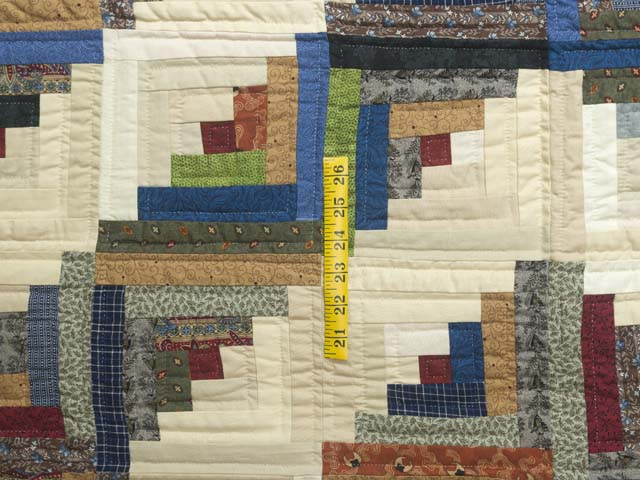 King Burgundy and Multicolor Bear Mountain Log Cabin Quilt Photo 4