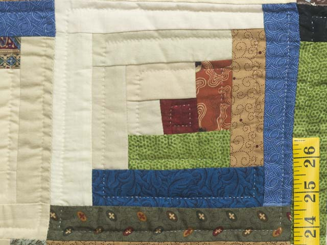 King Burgundy and Multicolor Bear Mountain Log Cabin Quilt Photo 5