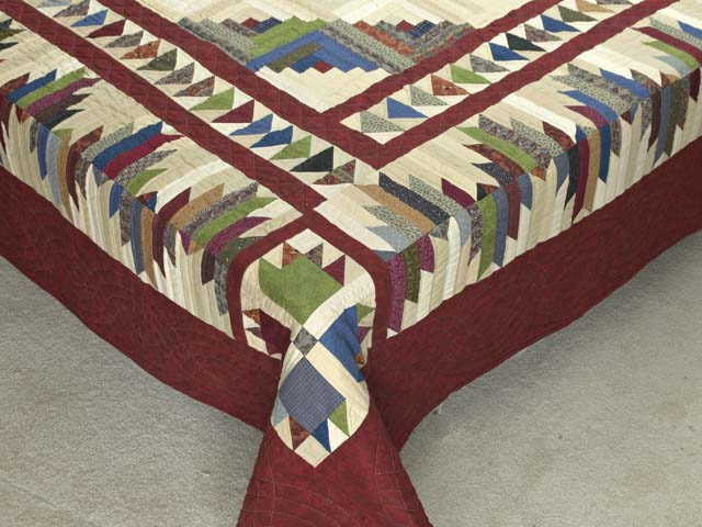 King Burgundy and Multicolor Bear Mountain Log Cabin Quilt Photo 7