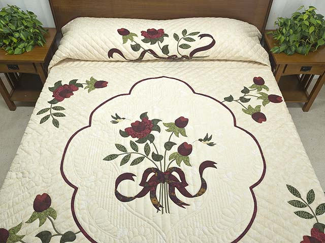 King  Burgundy  Green and Golden Cream Lancaster Treasures Quilt Photo 1