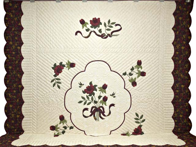 King  Burgundy  Green and Golden Cream Lancaster Treasures Quilt Photo 2