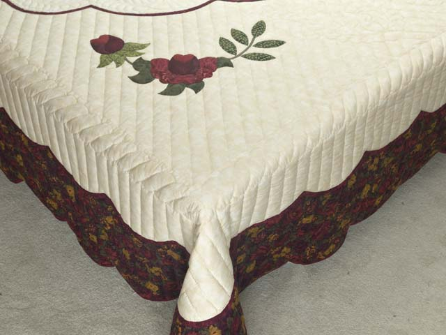King  Burgundy  Green and Golden Cream Lancaster Treasures Quilt Photo 7