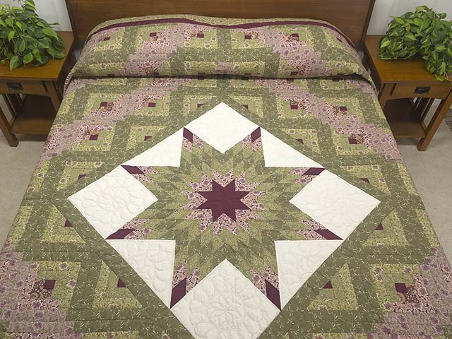 Burgundy Rose and Sage Lone Star Log Cabin Quilt Photo 1