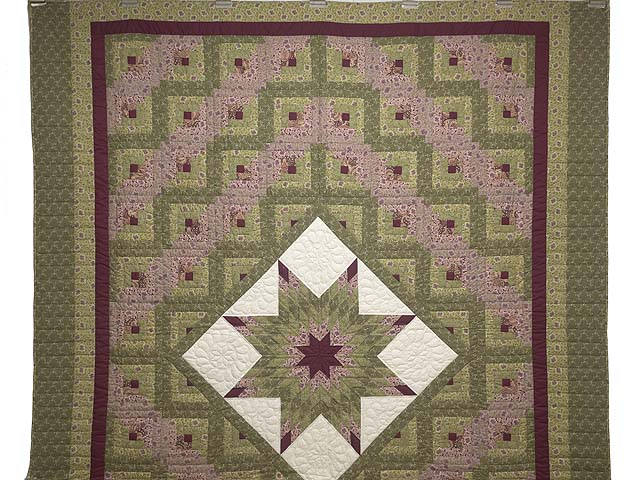 Burgundy Rose and Sage Lone Star Log Cabin Quilt Photo 2