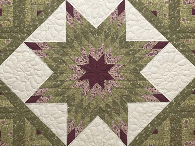 Burgundy Rose and Sage Lone Star Log Cabin Quilt Photo 3