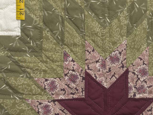 Burgundy Rose and Sage Lone Star Log Cabin Quilt Photo 5