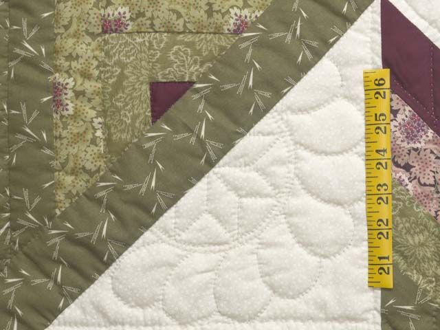 Burgundy Rose and Sage Lone Star Log Cabin Quilt Photo 6
