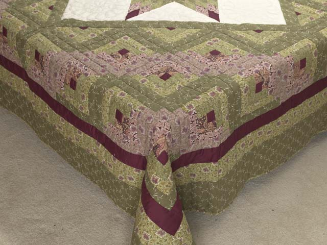 Burgundy Rose and Sage Lone Star Log Cabin Quilt Photo 7