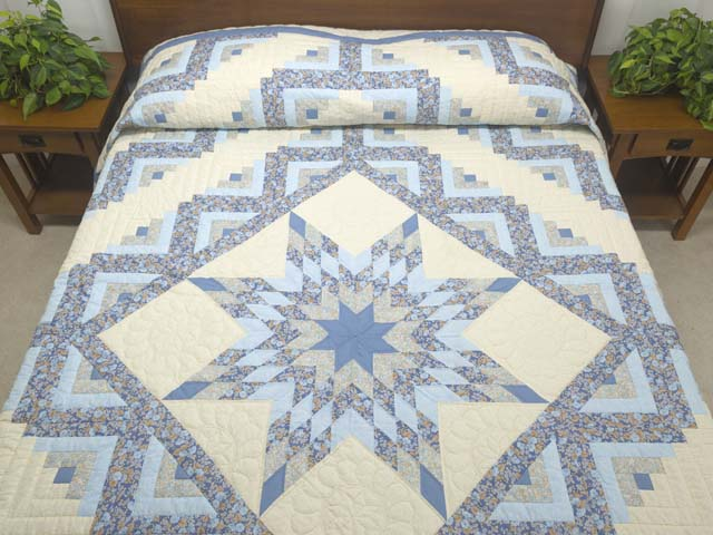 Soft Blues Golden Tan  and Cream Lone Star Log Cabin Quilt Photo 1