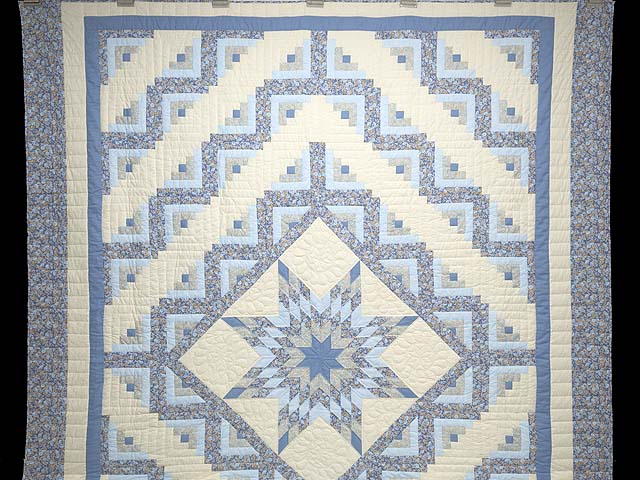 Soft Blues Golden Tan  and Cream Lone Star Log Cabin Quilt Photo 2