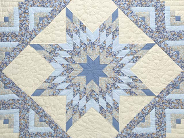 Soft Blues Golden Tan  and Cream Lone Star Log Cabin Quilt Photo 3