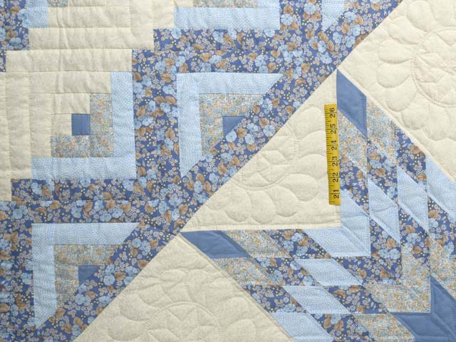 Soft Blues Golden Tan  and Cream Lone Star Log Cabin Quilt Photo 4