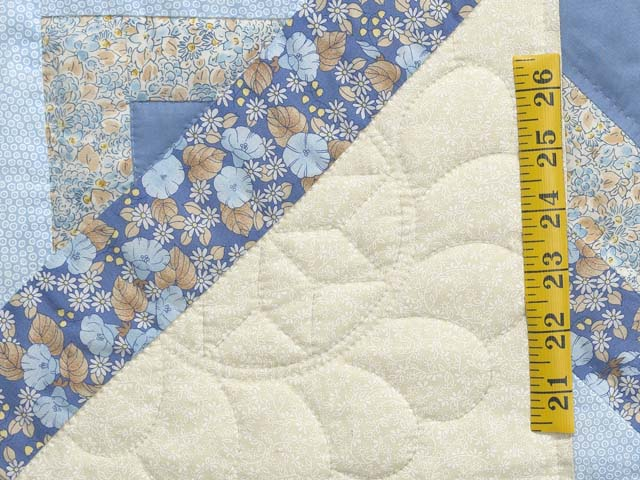 Soft Blues Golden Tan  and Cream Lone Star Log Cabin Quilt Photo 6