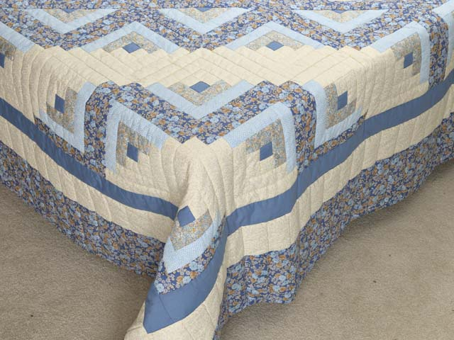Soft Blues Golden Tan  and Cream Lone Star Log Cabin Quilt Photo 7