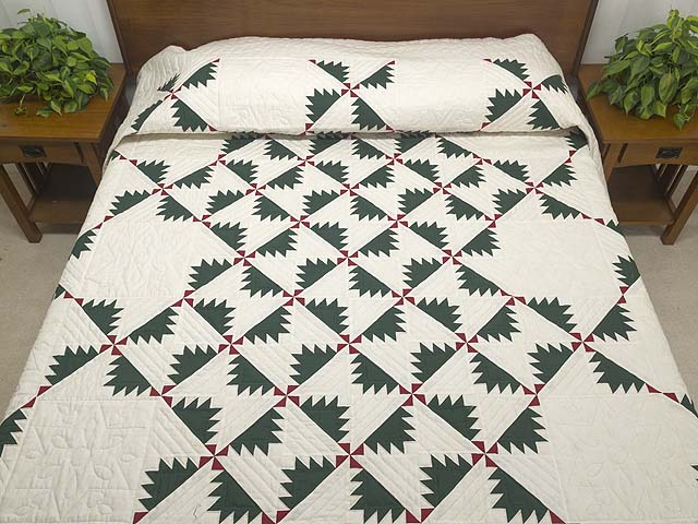Green Red and Cream Sisterhood Quilt Photo 1