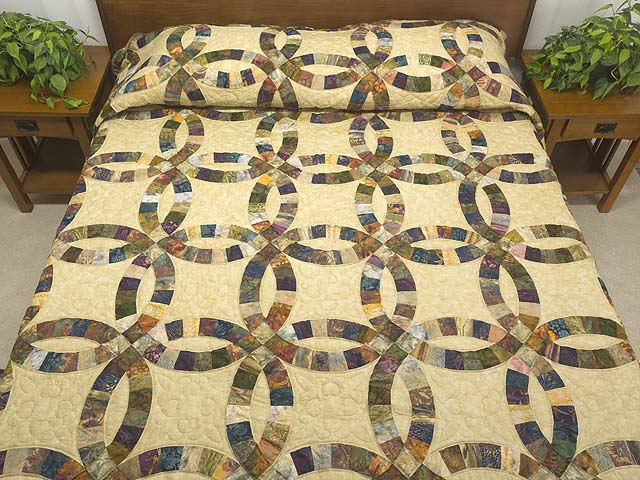 Hand Painted Double Wedding Ring Quilt Photo 1