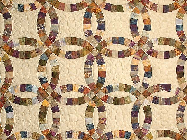 Hand Painted Double Wedding Ring Quilt Photo 3