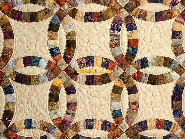 Hand Painted Double Wedding Ring Quilt Photo 4