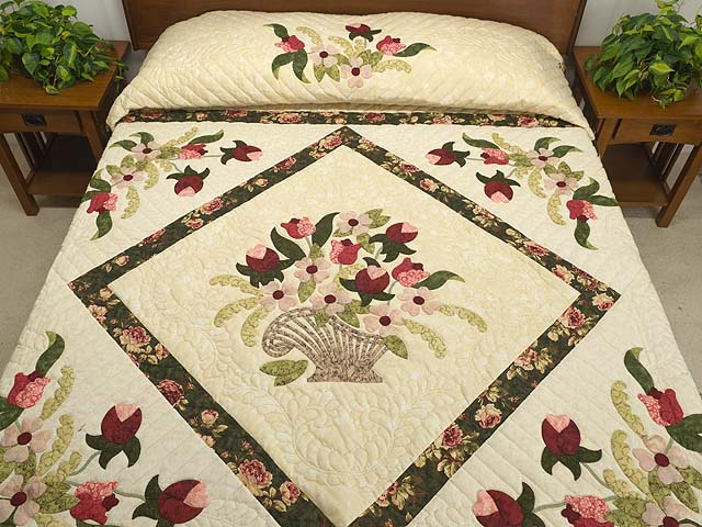 King Dark Green Rose and Pink Spring Basket Quilt Photo 1