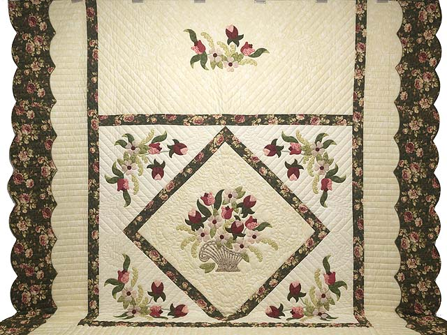 King Dark Green Rose and Pink Spring Basket Quilt Photo 2