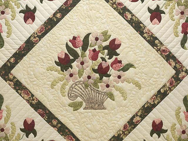 King Dark Green Rose and Pink Spring Basket Quilt Photo 3