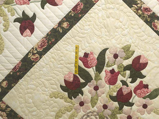 King Dark Green Rose and Pink Spring Basket Quilt Photo 4