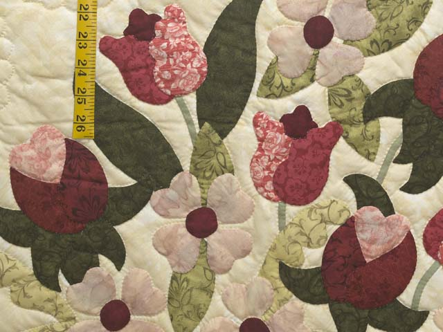King Dark Green Rose and Pink Spring Basket Quilt Photo 5