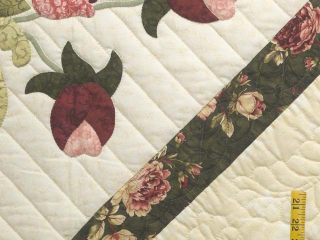 King Dark Green Rose and Pink Spring Basket Quilt Photo 6