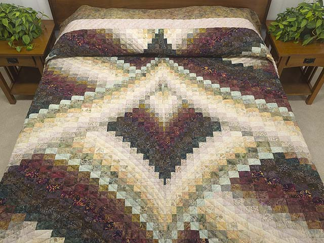 Plum Teal Dark Green and Gold Lightning Strikes Quilt Photo 1