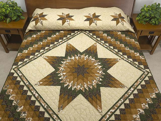 Golden Brown Tan and Green Lone Star Trip Quilt Photo 1