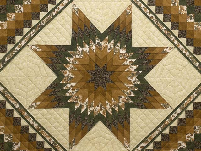 Golden Brown Tan and Green Lone Star Trip Quilt Photo 3