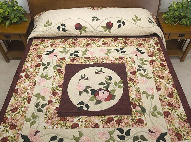 Burgundy Golden Tan and Multicolor I Promised You a Rose Garden Quilt Photo 1