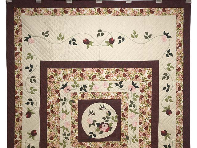 Burgundy Golden Tan and Multicolor I Promised You a Rose Garden Quilt Photo 2