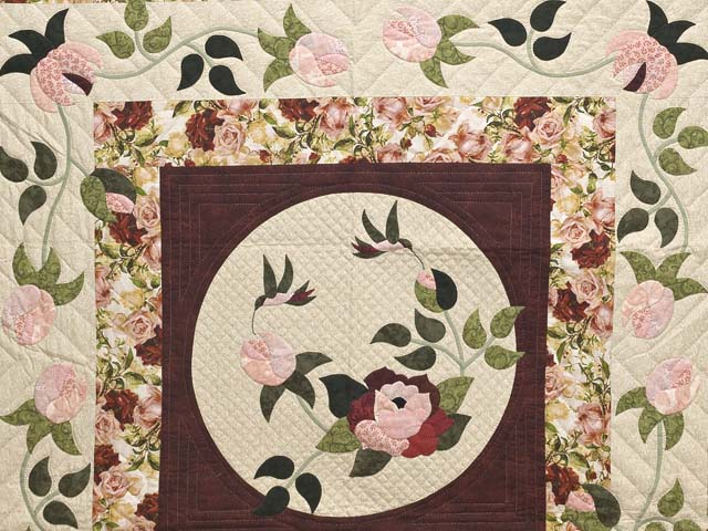 Burgundy Golden Tan and Multicolor I Promised You a Rose Garden Quilt Photo 3