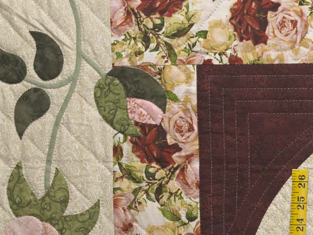 Burgundy Golden Tan and Multicolor I Promised You a Rose Garden Quilt Photo 5
