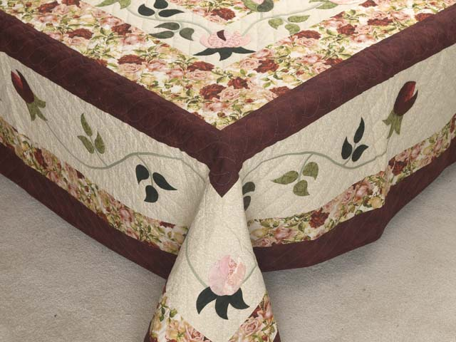 Burgundy Golden Tan and Multicolor I Promised You a Rose Garden Quilt Photo 7