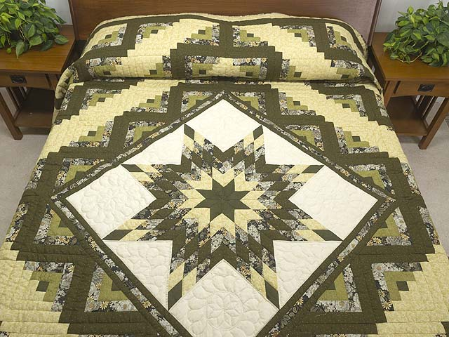 Moss Green and Golden Yellow Lone Star Log Cabin Quilt Photo 1