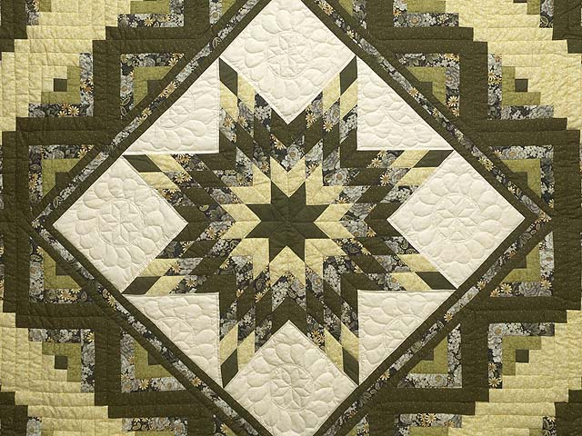 Moss Green and Golden Yellow Lone Star Log Cabin Quilt Photo 3