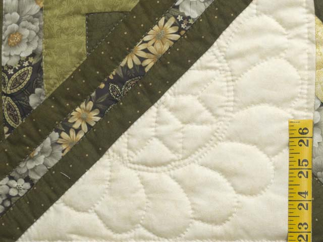 Moss Green and Golden Yellow Lone Star Log Cabin Quilt Photo 5