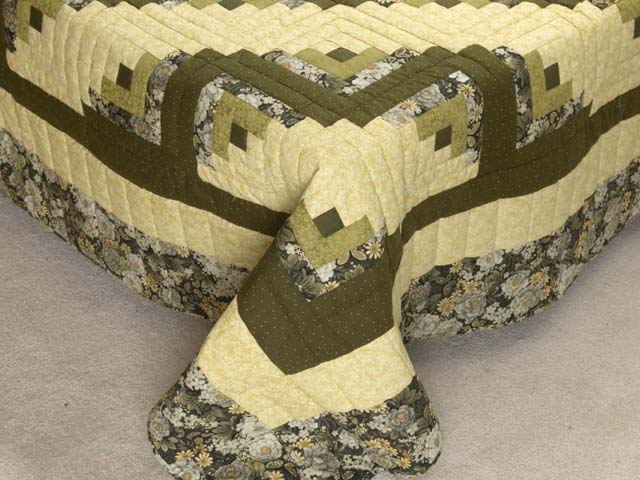 Moss Green and Golden Yellow Lone Star Log Cabin Quilt Photo 7
