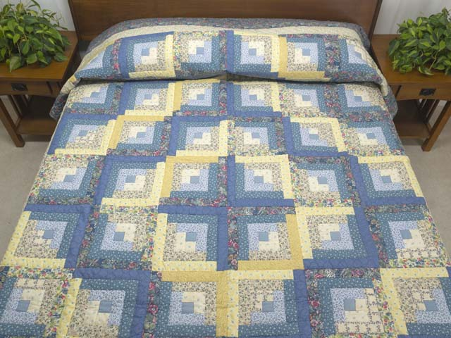 Full Size Blue Yellow and Rose Log Cabin Quilt Photo 1