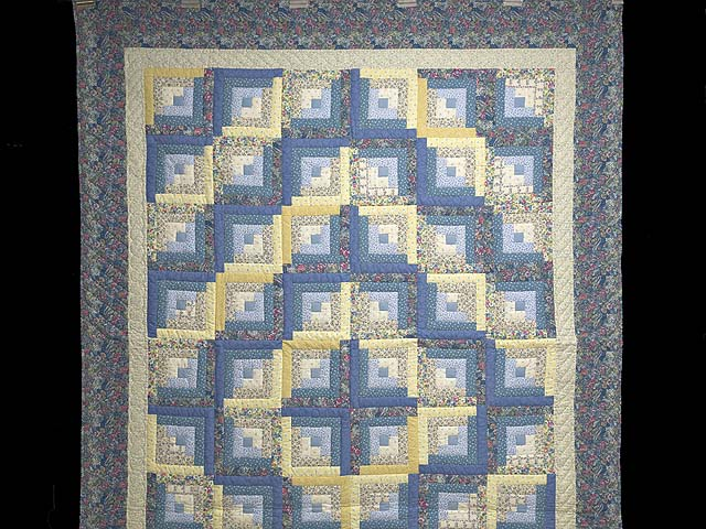 Full Size Blue Yellow and Rose Log Cabin Quilt Photo 2